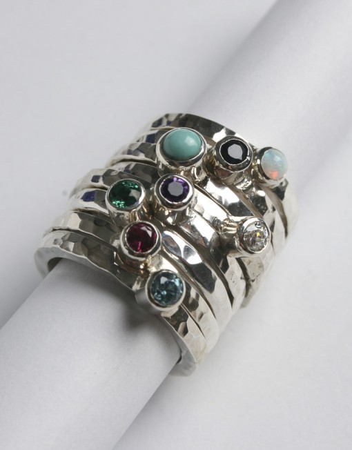 silver stacking ring with gemstone starboard jewellery