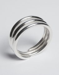 Silver three band ring