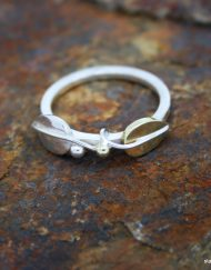 sterling silver and brass leaf ring