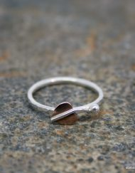 Copper leaf and bead on sterling silver ring