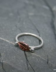Copper leaf on sterling silver ring