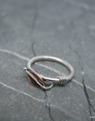 Copper leaf ring with coil on sterling silver