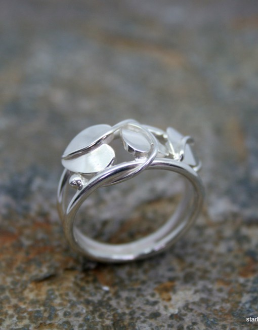 Handmade art nouveau styled sterling silver ring