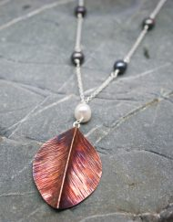 Copper leaf and freshwater pearl necklace