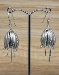 Silver plated tulip drop earrings