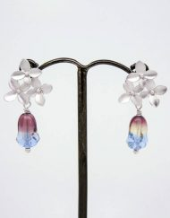 Cluster flower earrings with frosted tulip drop