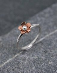 Silver-and-copper-daisy-ring