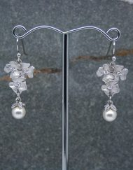 Triple flower & pearl drop earrings