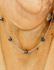 Freshwater pearl and silver chain necklace