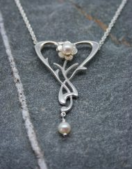 Pearl and silver art nouveau style necklace