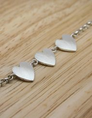Romantic silver three heart bracelet