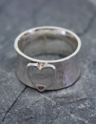 Wide sterling silver heart ring