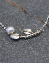Silver and pearl vine necklace with leaves