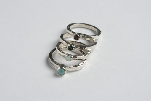 Silver stacking ring with gemstone | Starboard Jewellery