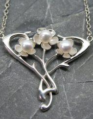 Handmade silver & pearl Art Nouveau vintage style pendant