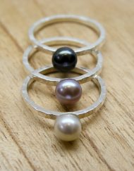 Handmade freshwater pearl silver stacking ring | Starboard Jewellery