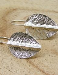 Handmade silver leaf earrings