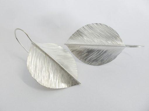 Handmade silver leaf earrings