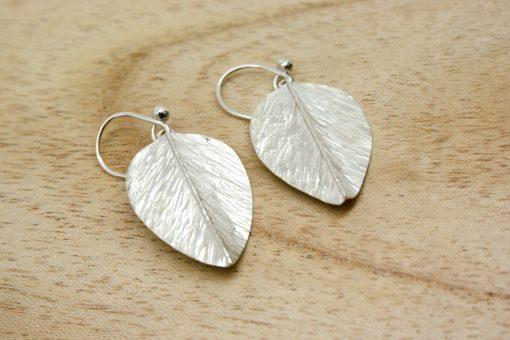 Handmade silver leaf earrings | Starboard Jewellery