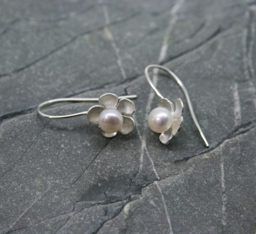 Pearl and Silver Daisy Earrings