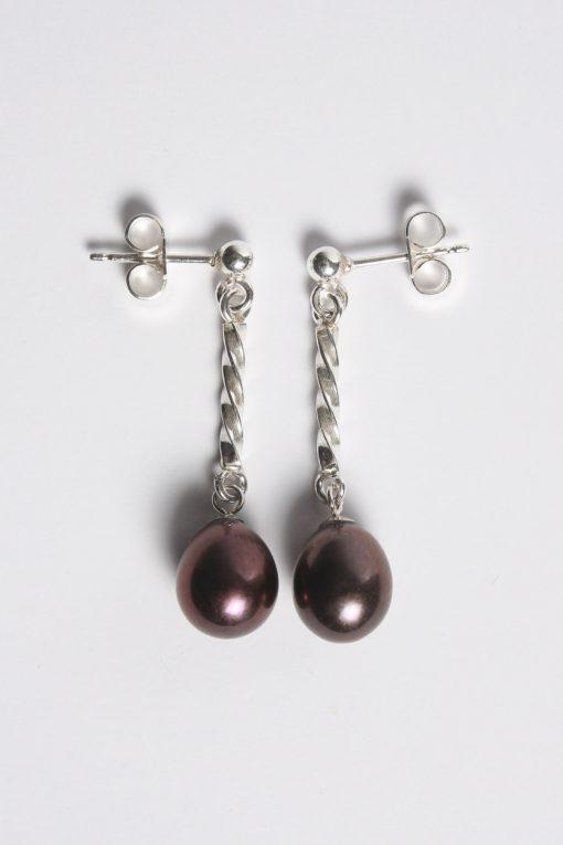 Handmade silver and pearl earrings   Starboard Jewellery