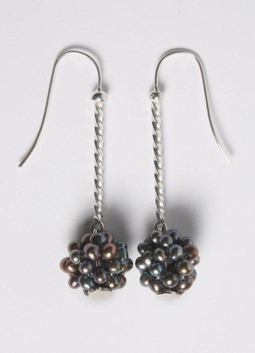 Silver & freshwater pearl cluster earrings   Starboard Jewellery