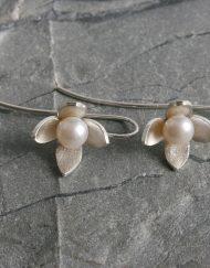 Silver & pearl fuchsia style earrings | Starboard Jewellery