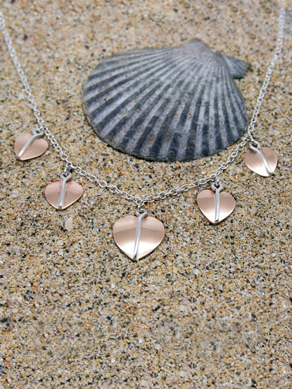 Handmade Silver and Copper Heart Leaf Necklace