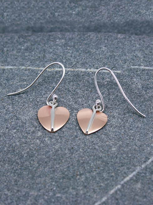 Handmade Silver and Copper Heart Leaf Drop Earrings