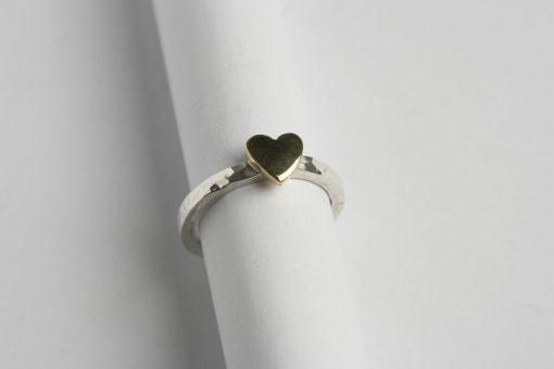 Brass heart and sterling silver ring 1