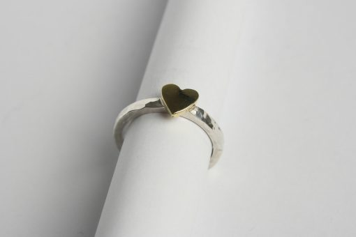 Brass heart and silver ring