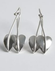 Drop silver leaf earrings