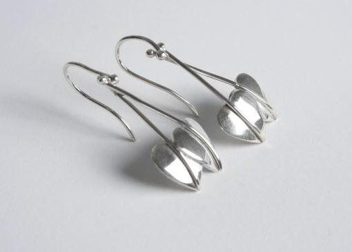 Drop silver leaf earrings
