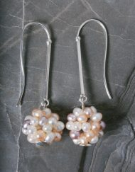 Silver and freshwater pearl cluster drop earrings