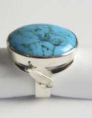 Large turquoise silver ring