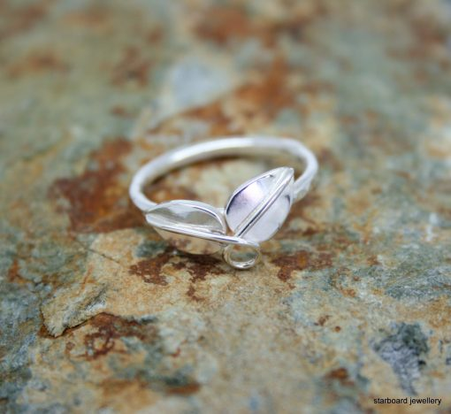 two leaf ring in sterling silver