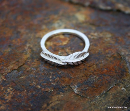 Handmade sterling silver two leaf ring