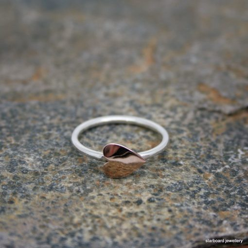 Copper heart on sterling silver ring