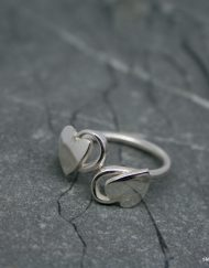 Handmade cross-over style sterling silver ring