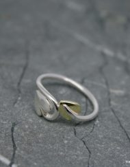 Handmade sterling silver and brass leaf ring
