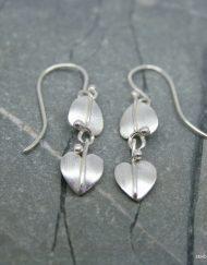 double drop leaf earrings in sterling silver
