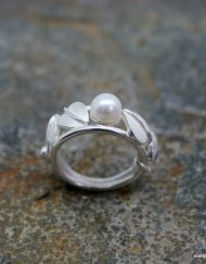 Art Nouveau styled sterling silver ring with freshwater pearl