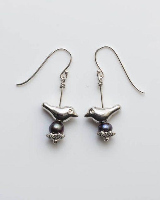 Bird and pearl earrings | Starboard Jewellery
