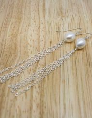 Freshwater pearl and sterling silver drop earrings