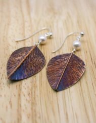 Copper and freshwater pearl leaf earrings