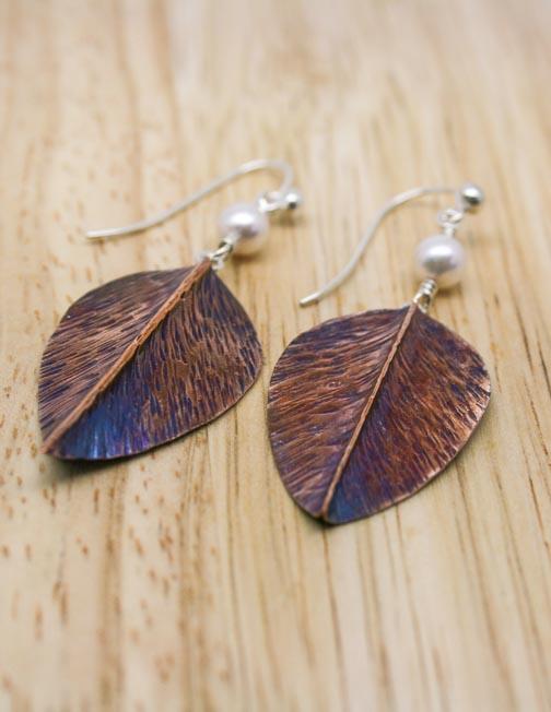 Copper and freshwater pearl leaf earrings