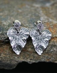 Leaf earrings with single crystal stud
