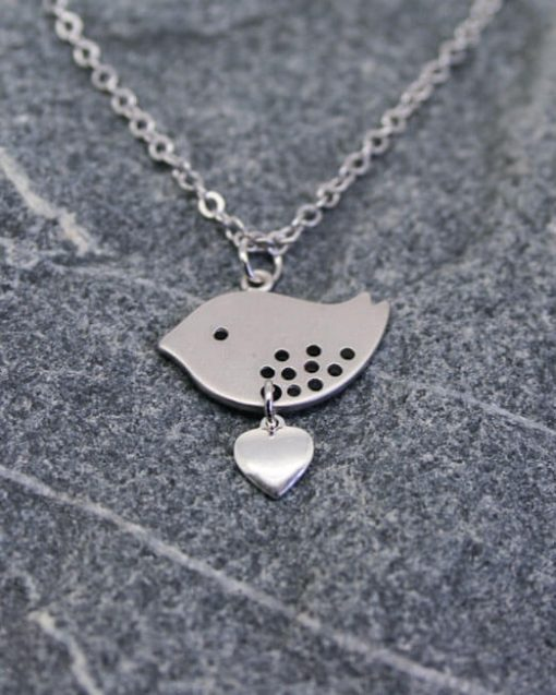 Love bird pendant with heart | Starboard Jewellery