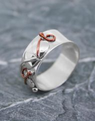 Sterling silver and copper veined ring