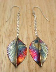 Copper and silver leaf drop earrings | Starboard Jewellery